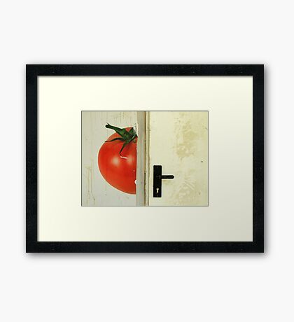 there's a tomato behind the door Framed Print