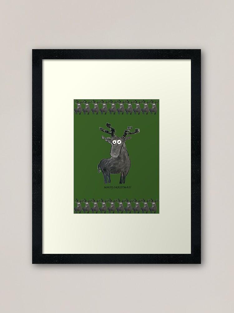 Alternate view of Moosy Christmas Framed Art Print