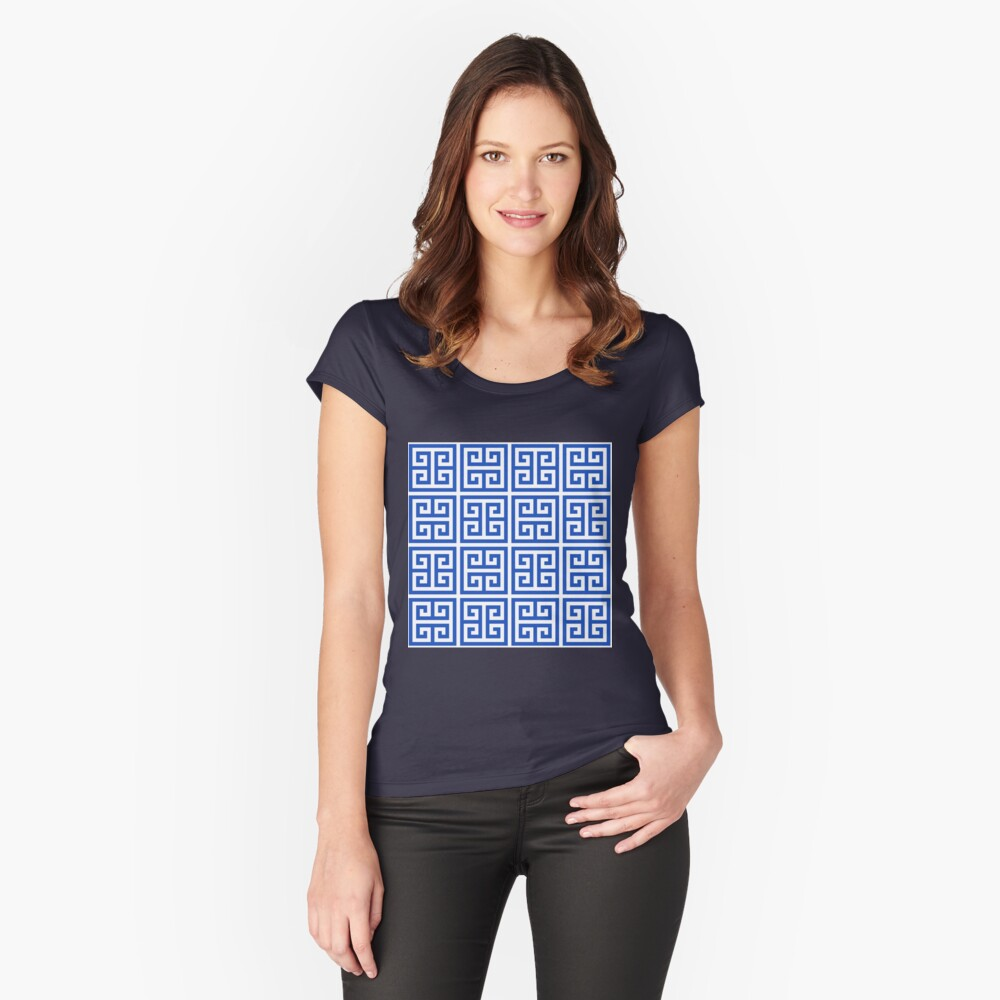 Geometric Pattern: Key Bridge Alternate: Blue Fitted Scoop T-Shirt