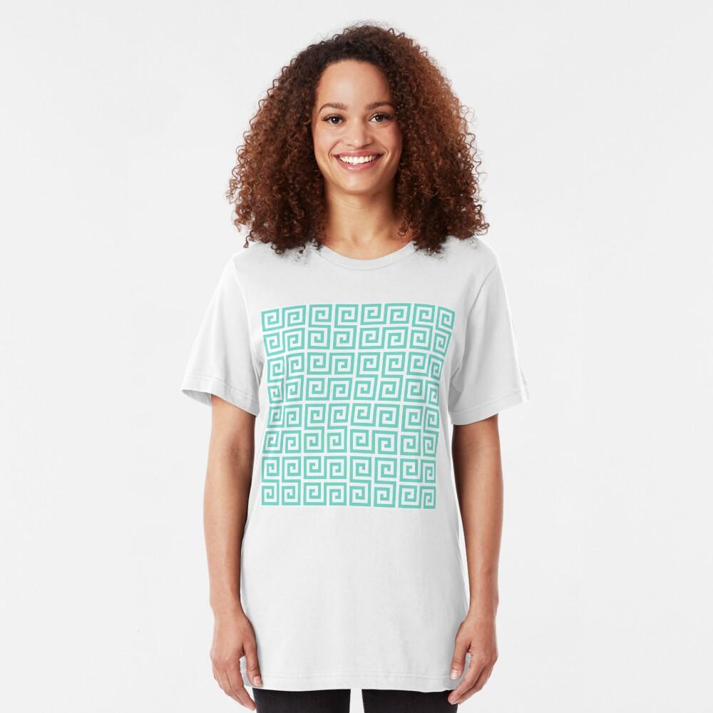 Geometric Pattern: Key Serpentine: Blue Slim Fit T-Shirt
