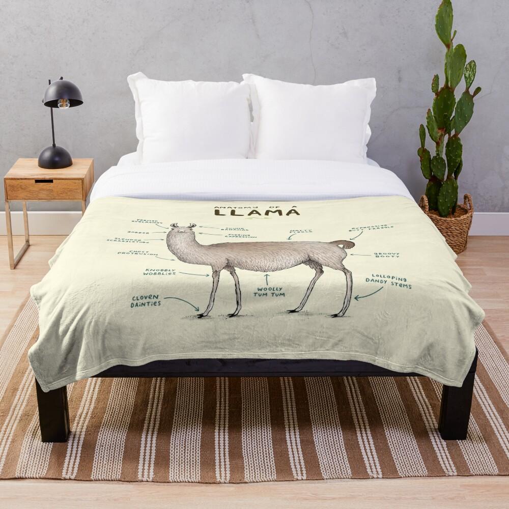 Anatomy of a Llama Throw Blanket