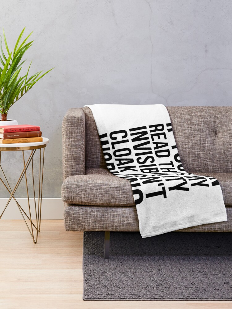 Alternate view of Can you read this? Throw Blanket