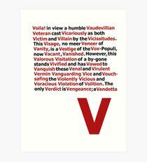 V for Vendetta- V Speech Art Print