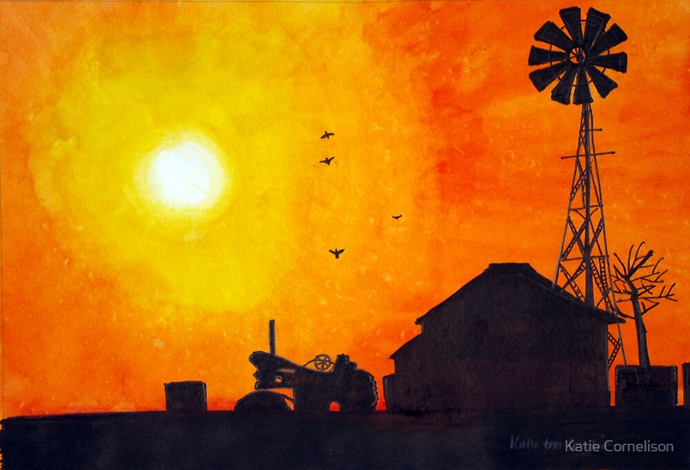 Quot Home On The Range Barn And Windmill Silhouette Quot By Katie