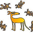 Galgo/greyhound and hares by lobitos