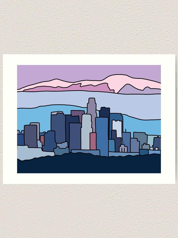 Alternate view of L.A. skyline by Elebea Art Print