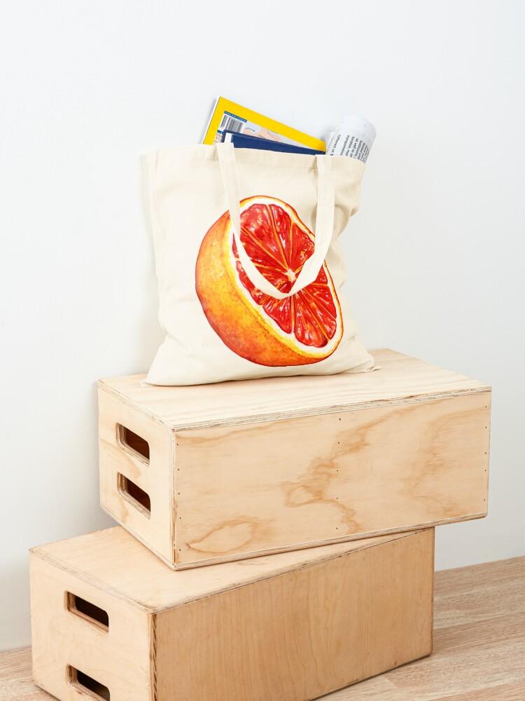 Alternate view of Grapefruit Pattern - Black Tote Bag