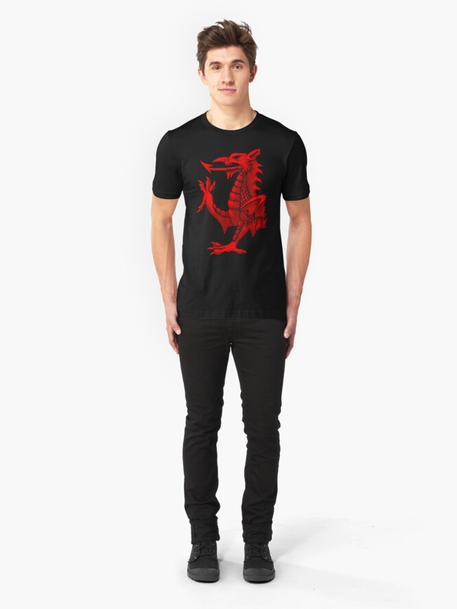 Vista alternativa de Camiseta ajustada Welsh Dragon - Red Hatching