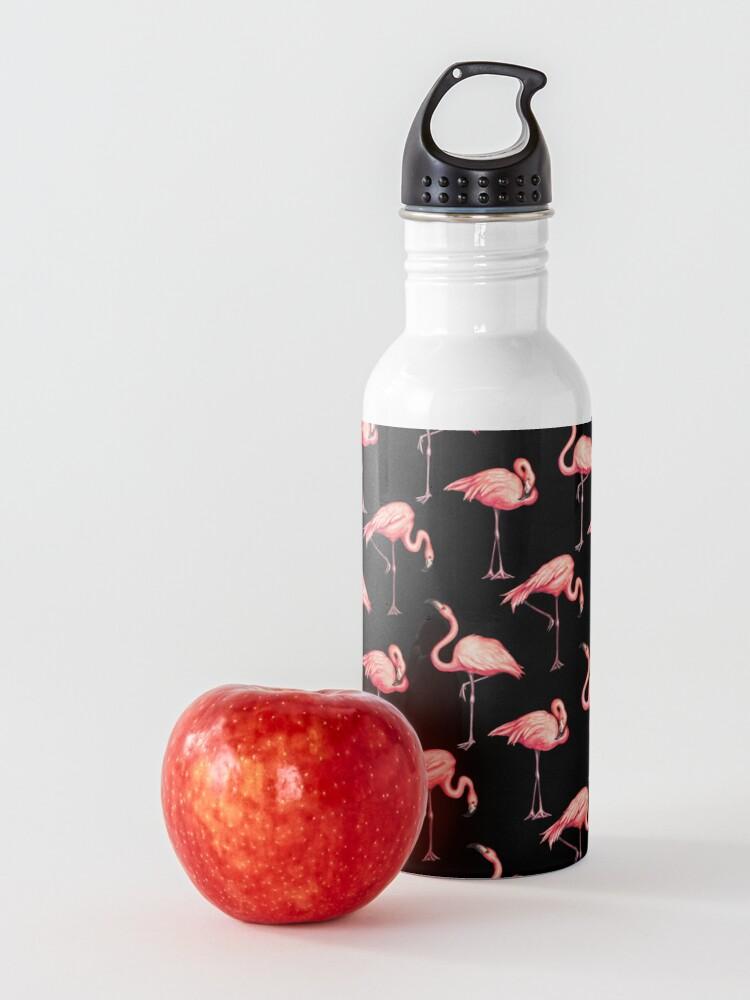 Alternate view of Flamingo Pattern - Black Water Bottle