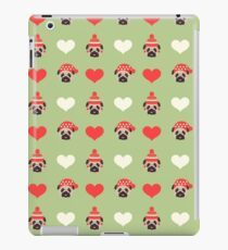 Holiday Pugs and Hearts - Soft Green Background  iPad Case/Skin