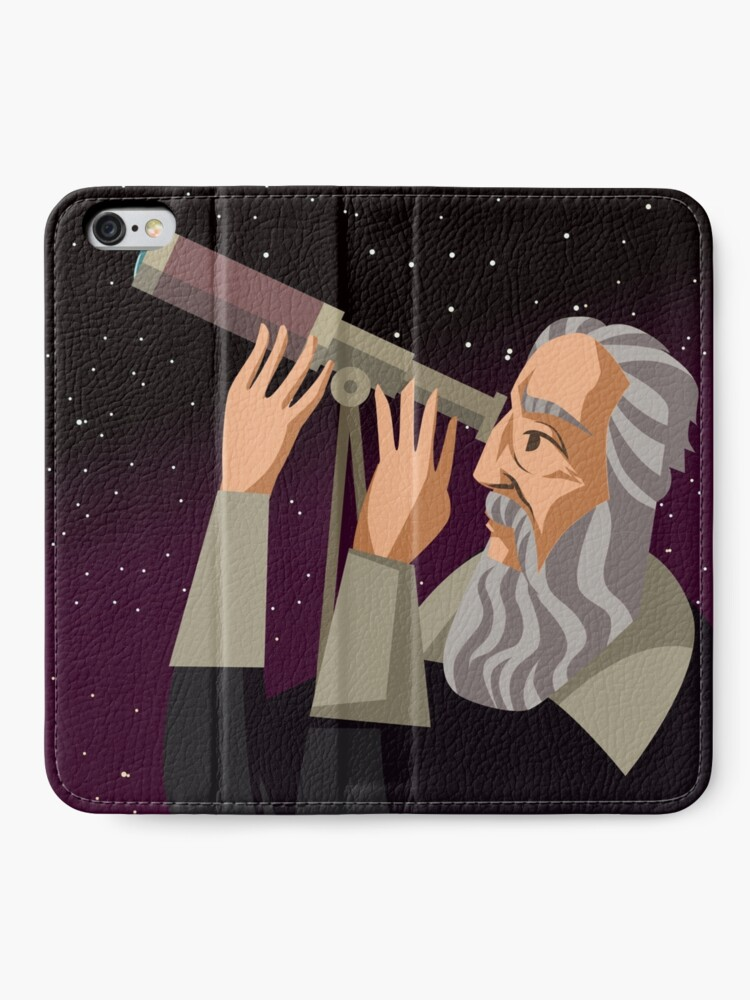 Alternate view of galileus watching the sky iPhone Wallet