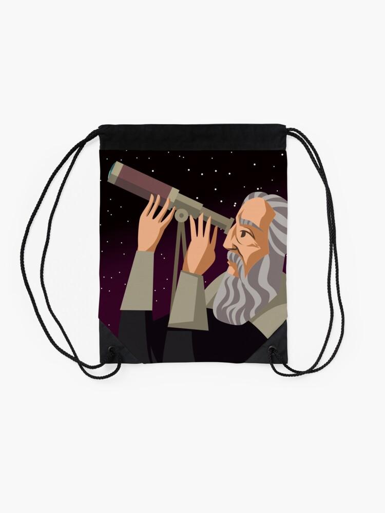 Alternate view of galileus watching the sky Drawstring Bag