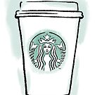 Starbucks Cup Drawing (Blue/Green) by Samm Poirier