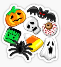 Halloween Spooky Candies Party Glossy Sticker