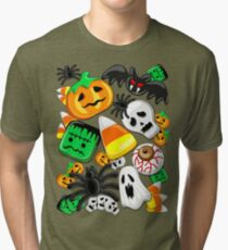 Halloween Spooky Candies Party Tri-blend T-Shirt