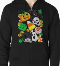 Halloween Spooky Candies Party Zipped Hoodie