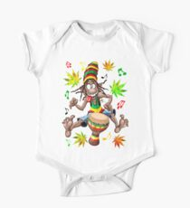 Rasta Bongo Musician funny cool character Short Sleeve Baby One-Piece