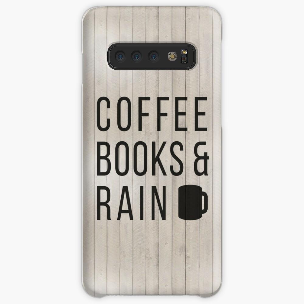Kaffee Bücher & Regen Hülle & Klebefolie für Samsung Galaxy