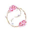 Blooming yin-yang circle watercolor painting design by AwenArtPrints