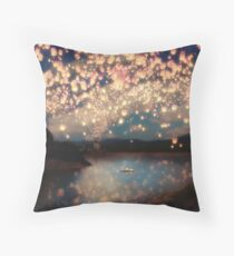 Wish Lanterns for Love Throw Pillow