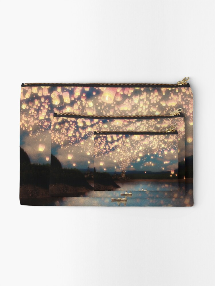 Alternate view of Wish Lanterns for Love Zipper Pouch