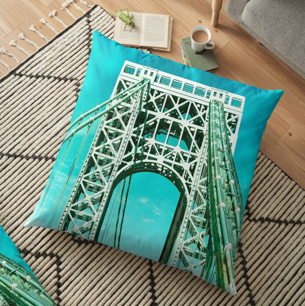 Gift for New Yorker - George Washington Bridge - New York City Lover Floor Pillow