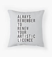 LICENCE RENEWAL Throw Pillow