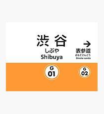 Tokyo Ginza Line Train Station Sign - Shibuya Photographic Print