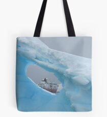 Ship as seen through Antarctic Iceberg Tote Bag