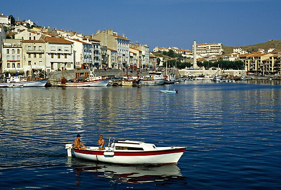 View of Port Vendres Harbour, France. 1980s by David A. L. Davies