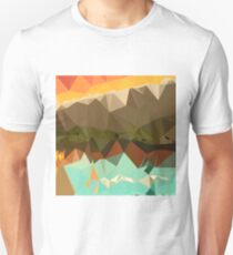 Dark Spring Green Abstract Low Polygon Background Unisex T-Shirt