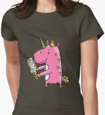Unicorn and ice cream Womens Fitted T-Shirt