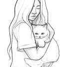 Cute girl and cat - line art pencil sketch by MadliArt