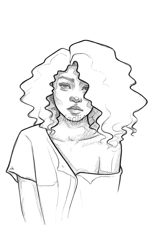 Fashion girl with curly hair - line art pencil sketch by MadliArt