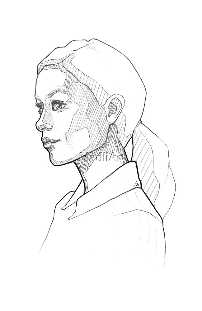 Pretty girl with pony tale - line art pencil sketch by MadliArt
