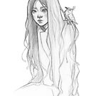Cute Asian girl  - line art pencil sketch by MadliArt