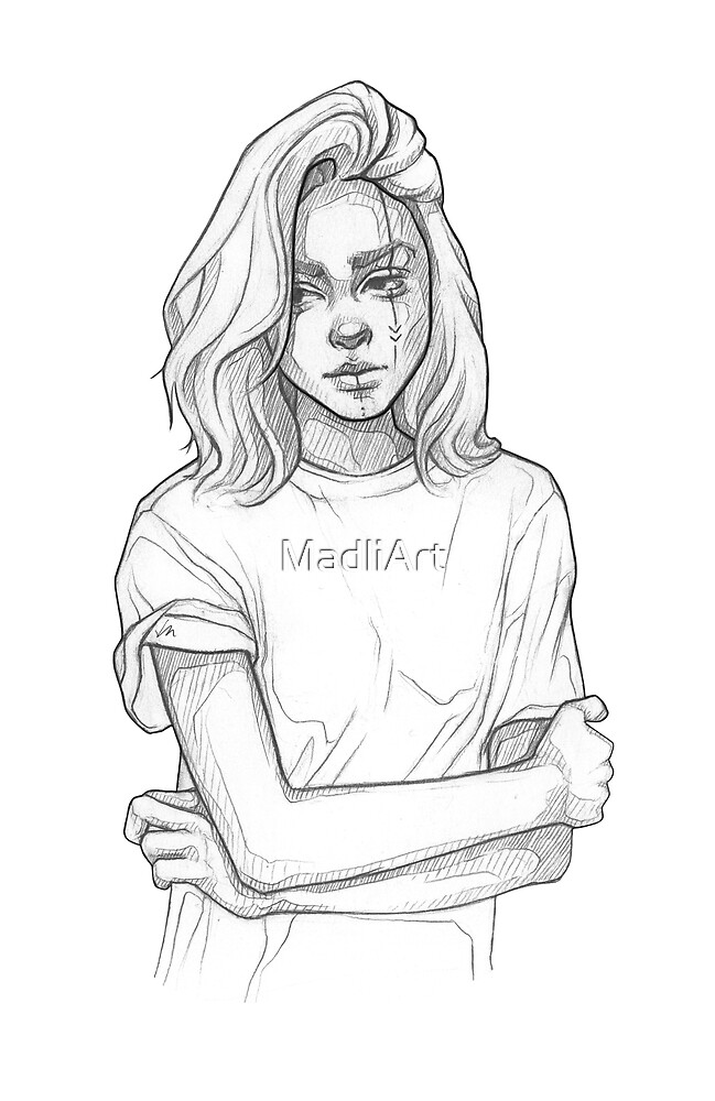 Pretty tribe girl - line art pencil sketch by MadliArt