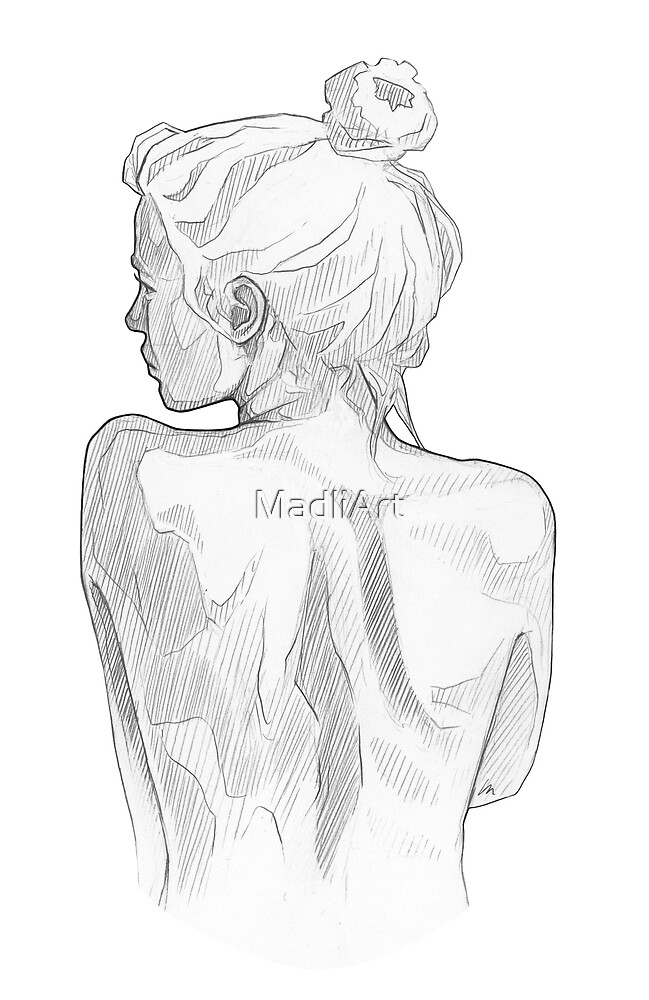 Pretty girl - line art pencil sketch by MadliArt