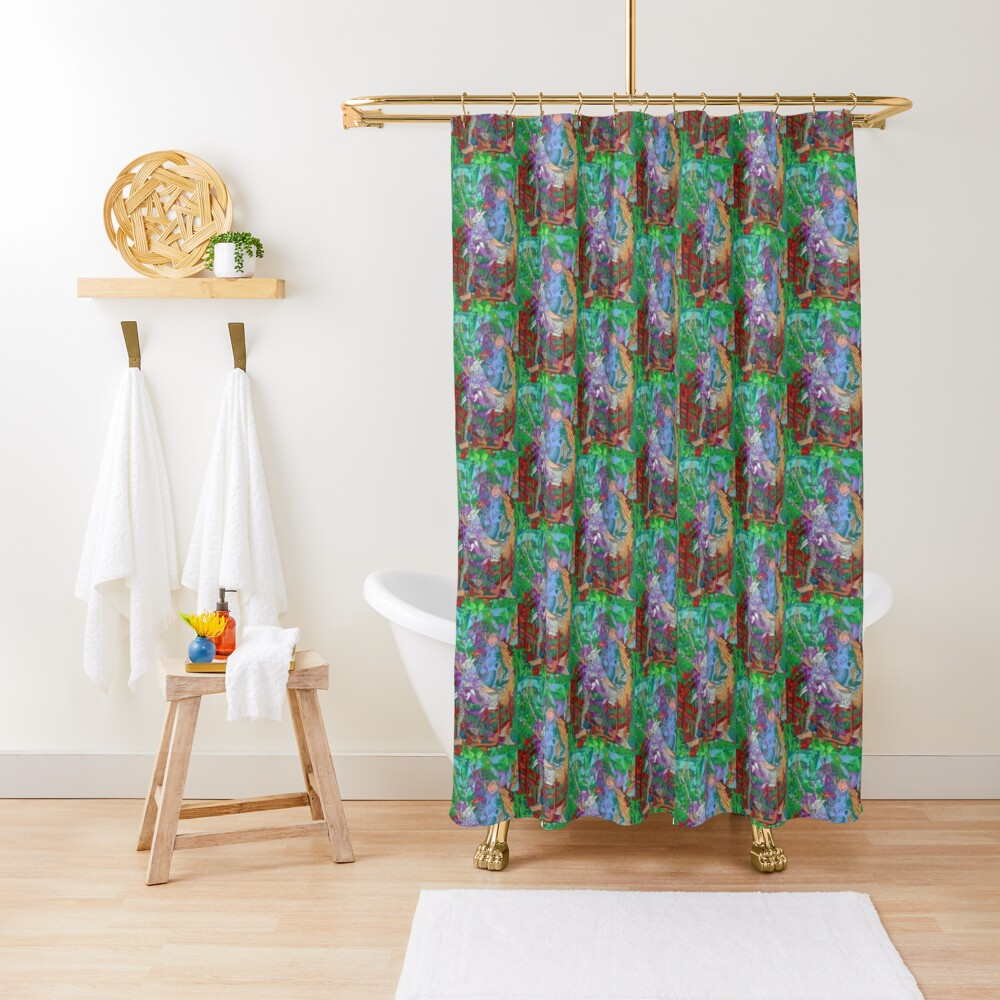 Archeology of the Unicorn Shower Curtain