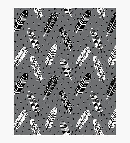 Feather geometric grey charcoal neutral modern pattern print dots geo scandinavian scandi pattern print Photographic Print
