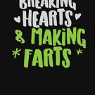 Breaking hearts and making farts! super cute baby kids tee shirt! von jazzydevil
