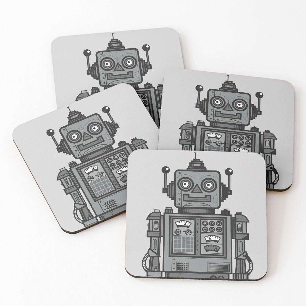 Weinlese-Roboter Untersetzer (4er Set)