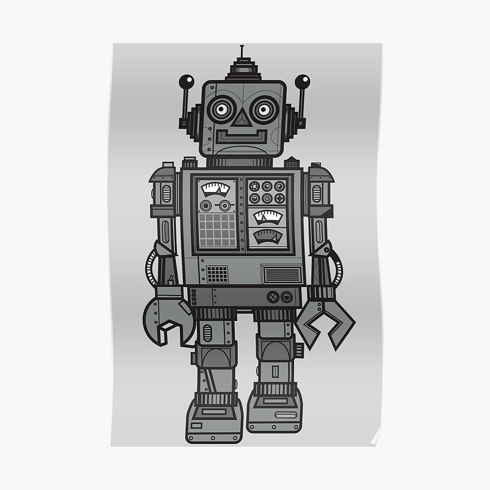 Weinlese-Roboter Poster