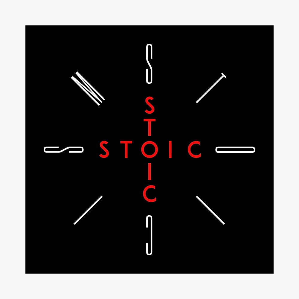 Stoic Word Cross - Stoic and Stoicism Text in a Cross Circle Photographic Print
