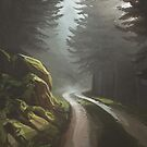 Pine forest road - digital painting by MadliArt