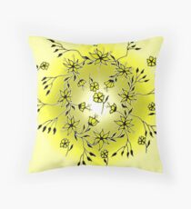 Flower Swirl - Yellow Throw Pillow