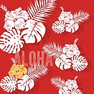 Tropical Hawaiian Red Hibiscus Palm by blueidesign