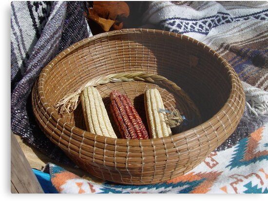 Pine Needle Basket and Indian Corn by May Lattanzio