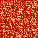 Chinesische Schriftzeichen - Lucky Symbols Pattern von k9printart