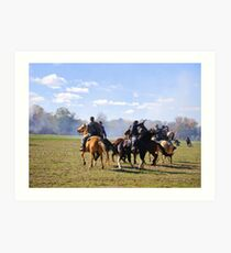 Fighting it Out On Horseback Art Print
